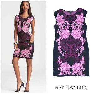 ANN TAYLOR Short Sleeve Floral Knit Sweater Dress